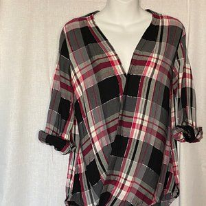 New York & Company Pink and Black Plaid Wrap Top